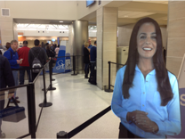 AVA - the airport virtual assistant helps with security screening at San Antoino Airport.